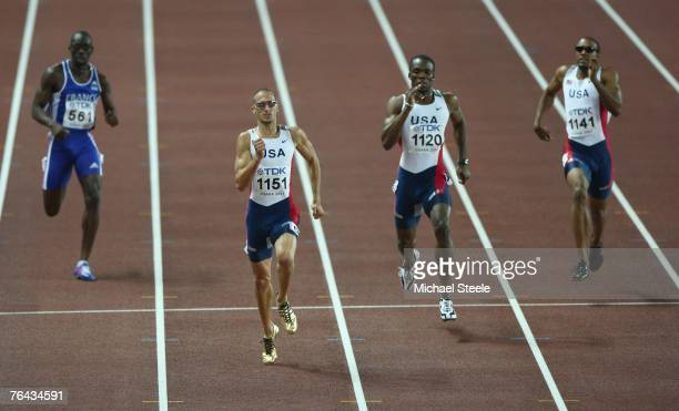 Leslie Djhone of France competes against Jeremy Wariner LaShawn Merritt and Angelo Taylor of the United States of America in the Men's 400m Final on...