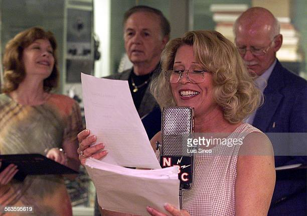 Leslie Easterbrook rehearses California Artists Radio Theatre's musical production of Twinkle Twinkle at Pioneer Broadcasters Club Room in Hollywood
