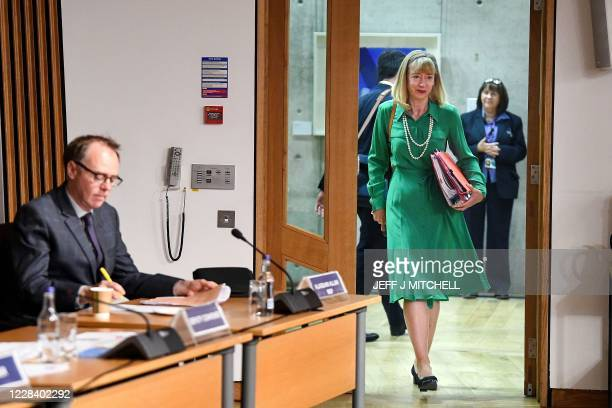 Leslie Evans, Permanent Secretary to the Scottish Government arrives to give evidence to a Scottish Parliament committee at Holyrood in Edinburgh on...