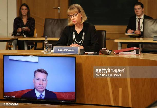 Leslie Evans , Permanent Secretary to the Scottish Government, is pictured as she gives evidence at Holyrood to a Scottish Parliament committee...