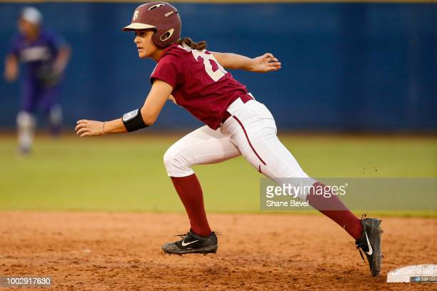 Leslie Farris of Florida State runs towards third base during the Division I Women's Softball Championship held at USA Softball Hall of Fame Stadium...