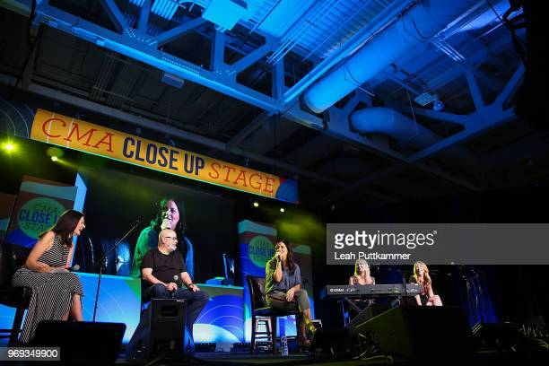Leslie Fram interviews Sara Evans on the CMA Close Up Stage during the 2018 CMA Music festival at the on June 7 2018 in Nashville Tennessee