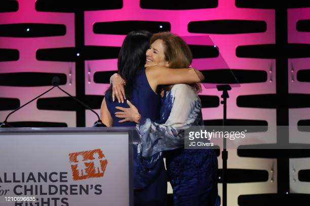 Leslie GilbertLurie and Susan Saltz seen onstage during The Alliance For Children's Rights 28th Annual Dinner Honoring Karey Burke And Susan Saltz at...