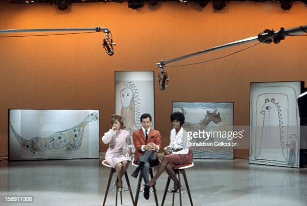 Leslie Gore Trini Lopez and Dionne Warwick perform on the NBC TV music show 'Hullabaloo' in March 1965 in New York City New York