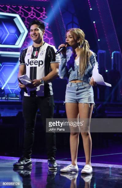 Leslie Grace and Chino Miranda are seen during rehearsal at Univision's 'Premios Juventud' 2017 Celebrates The Hottest Musical Artists And Young...