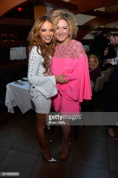 Leslie Grace and Erika Ender attend the Leading Ladies Lunch during the 18th annual Latin Grammy Awards at Mastro's Ocean Club at The Shops at...