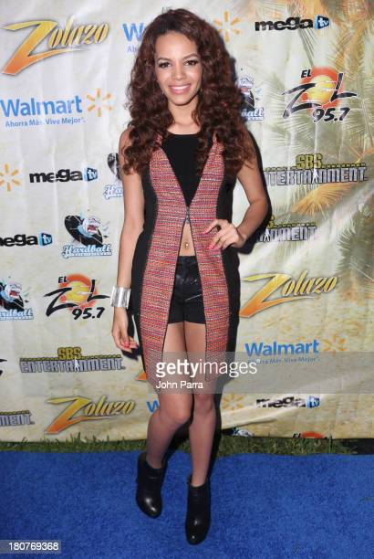 Leslie Grace backstage at the Zolazo concert at Bayfront Park Amphitheater on September 15 2013 in Miami Florida
