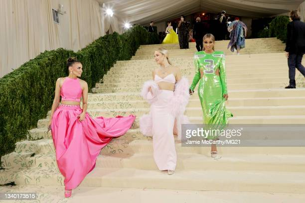 Leslie Grace, Kate Hudson and Ciara depart The 2021 Met Gala Celebrating In America: A Lexicon Of Fashion at Metropolitan Museum of Art on September...