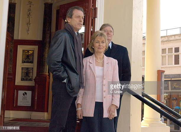 Leslie Grantham Alexandra Bastedo and Simon Ward during Leslie Grantham Stars in Beyond Reasonable Doubt Photocall at New Wimbledon Theatre in London...