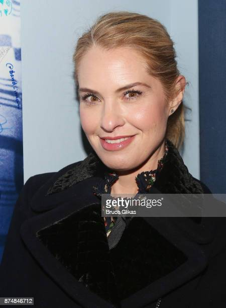 Leslie Grossman poses backstage at the hit musical 'Dear Evan Hansen' on Broadway at The Music Box Theatre on November 15 2017 in New York City