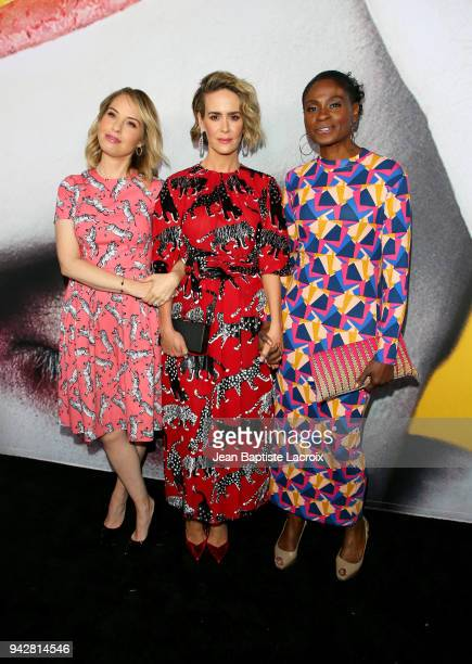 Leslie Grossman Sarah Paulson and Adina Porter attend the American Horror Story Cult For Your Consideration Event at The WGA Theater on April 6 2018...