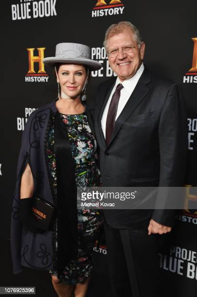 Leslie Harter Zemeckis and Robert Zemeckis attend the LA premiere party for HISTORY's new drama Project Blue Book on January 3 2019 in Los Angeles...