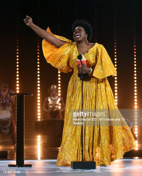 Leslie Jones accepts the Best Comedic Performance award for 'Coming 2 America' onstage during the 2021 MTV Movie & TV Awards at the Hollywood...