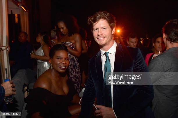 Leslie Jones and Anders Holm attend the 2018 PreEmmy Party hosted by Entertainment Weekly and L'Oreal Paris at Sunset Tower on September 15 2018 in...