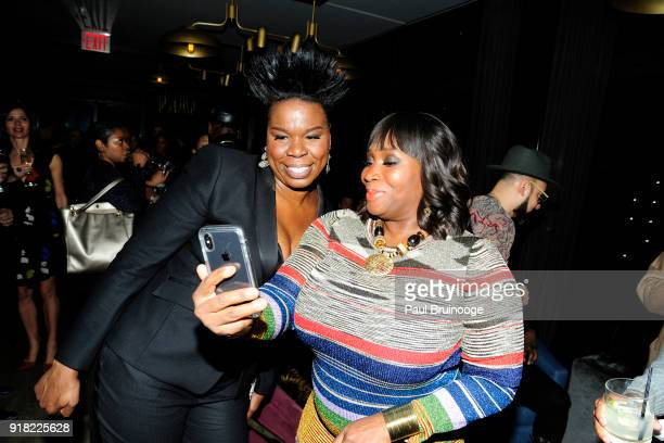 Leslie Jones and Bevy Smith attend The Cinema Society with Ravage Wines Synchrony host the after party for Marvel Studios' 'Black Panther' at The...