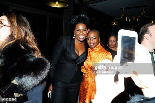 Leslie Jones and Danai Gurira attend The Cinema Society with Ravage Wines Synchrony host the after party for Marvel Studios' 'Black Panther' at The...