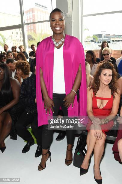 Leslie Jones and Gina Gershon attend the Christian Siriano fashion show during New York Fashion Week The Shows at Pier 59 on September 9 2017 in New...