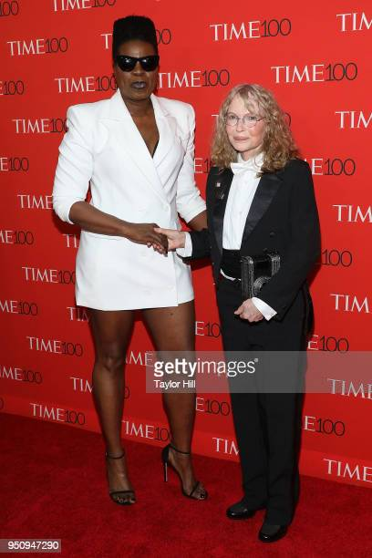 Leslie Jones and Mia Farrow attend the 2018 Time 100 Gala at Frederick P Rose Hall Jazz at Lincoln Center on April 24 2018 in New York City