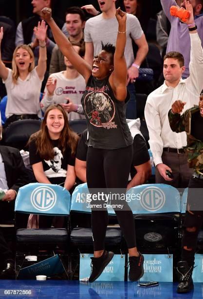Leslie Jones attends Philadelphia 76ers Vs New York Knicks game at Madison Square Garden on April 12 2017 in New York City