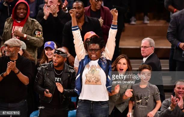 Leslie Jones Mariska Hargitay and August Miklos Friedrich Hermann attend the Cleveland Cavaliers Vs New York Knicks game at Madison Square Garden on...