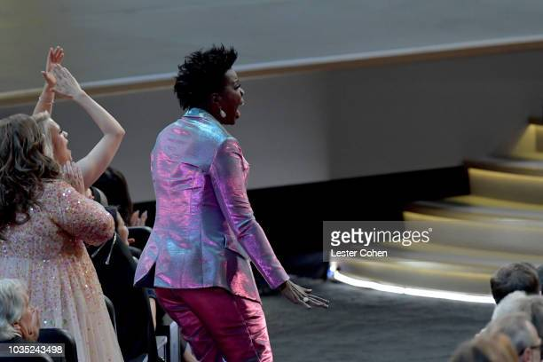 Leslie Jones reacts to engagement of Glenn Weiss and Jan Svendsen during the 70th Emmy Awards at Microsoft Theater on September 17 2018 in Los...