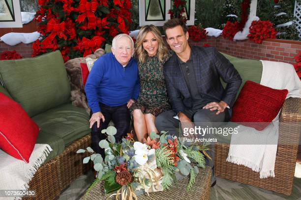 Leslie Jordan Debbie Matenopoulos and Cameron Mathison on the set of Hallmark's Home Family at Universal Studios Hollywood on November 27 2018 in...