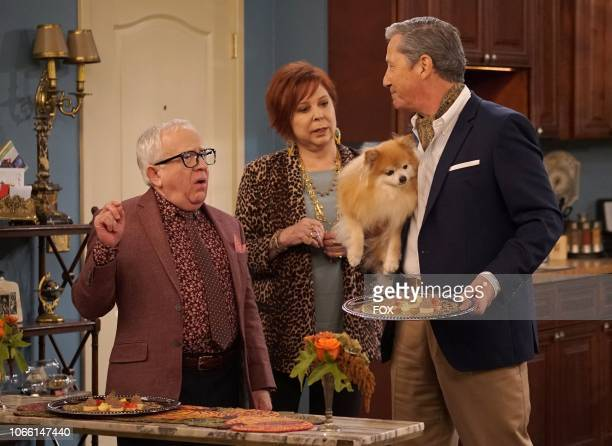 """Leslie Jordan, Vicki Lawrence and guest star Charles Shaughnessy in the """"Thanksgiving at Murray's"""" episode of THE COOL KIDS airing Friday, Nov. 16 on..."""