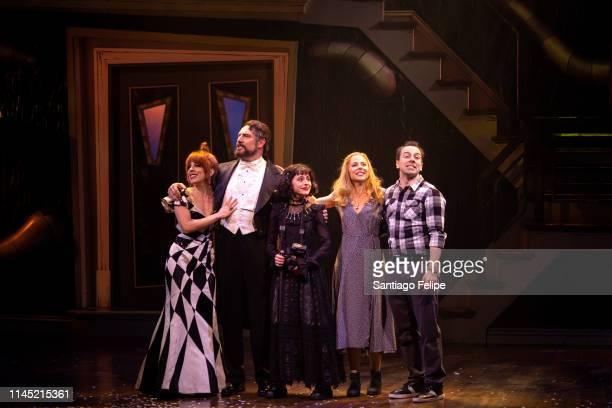 Leslie Kritzer Adam Dannheisser Sophia Anne Caruso Kerry Butler and Rob McClure perform onstage during 'Beetlejuice' broadway opening night at Winter...