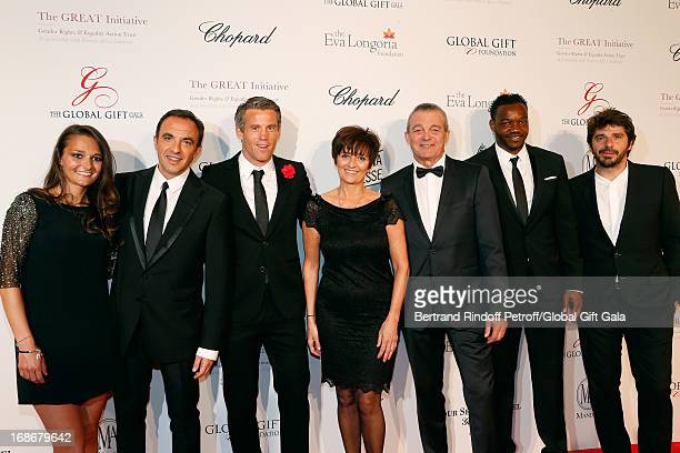 Leslie Lemarchal Nikos Aliagas Mickael Landreau Laurence Lemarchal Pierre Lemarchal Steve Mandanda and Patrick Fiori attend 'Global Gift Gala' at...