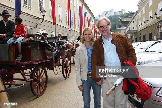 Leslie Malton + Felix Von Manteuffel Bei Der Ankunft Zum Montblanc Künstlerempfang Im Rahmen Der Salzburger Festspiele