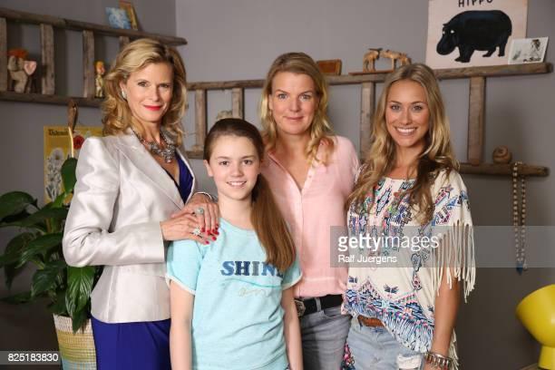 Leslie Malton Laurena Marisol Lehrich Mirja Boes and Sina Tkotsch pose during the set visit of the new RTL tv sitcom 'Beste Schwestern' on August 1...