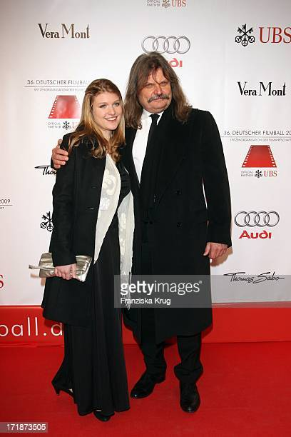 Leslie Mandoki and daughter Lara On Arrival to 36th German Film Ball at Hotel Bayerischer Hof in Munich