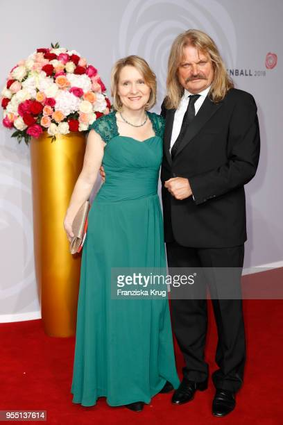 Leslie Mandoki and Eva Mandoki attend the Rosenball charity event at Hotel Intercontinental on May 5 2018 in Berlin Germany