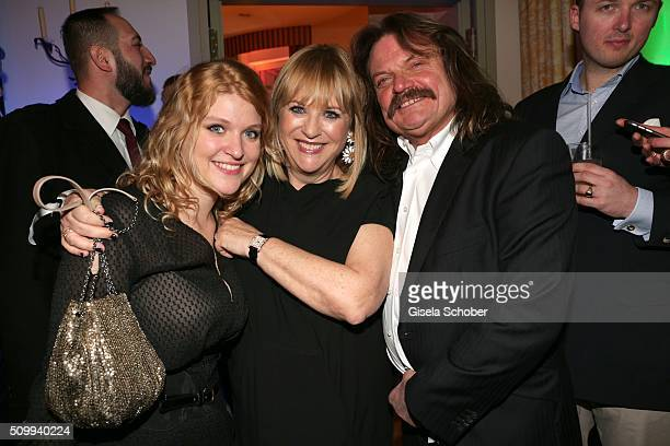 Leslie Mandoki and his daughter Lara Mandoki and Patricia Riekel during the Bunte and BMW Festival Night 2016 during the 66th Berlinale International...