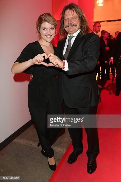 Leslie Mandoki and his daughter Lara Mandoki attend the Ein Herz Fuer Kinder Gala 2015 reception at Tempelhof Airport on December 5, 2015 in Berlin,...