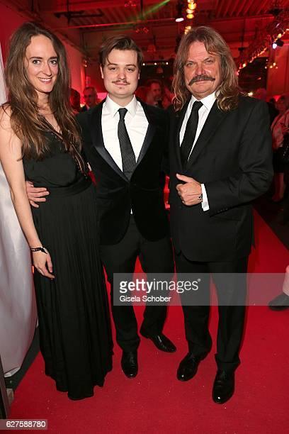 Leslie Mandoki and his son Gabor Mandoki and his girlfriend Sophie during the Ein Herz Fuer Kinder reception at Adlershof Studio on December 3, 2016...