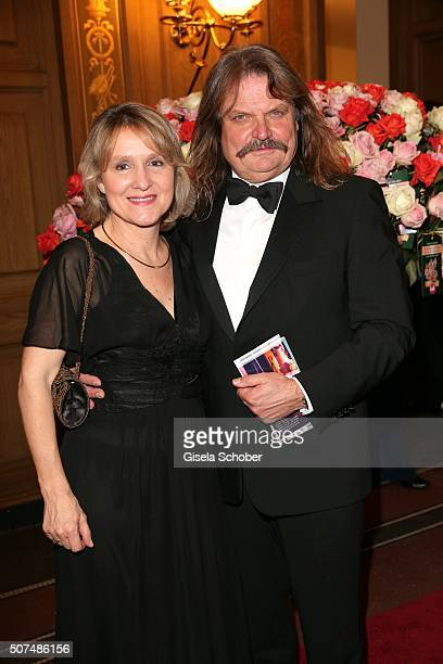 Leslie Mandoki and his wife Dr Eva Mandoki during the Semper Opera Ball 2016 at Semperoper on January 29 2016 in Dresden Germany