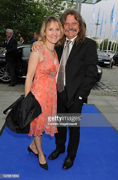 Leslie Mandoki and his wife Eva attend the Bavarian Sport Award 2010 at the International Congress Center Munich on July 17, 2010 in Munich, Germany.