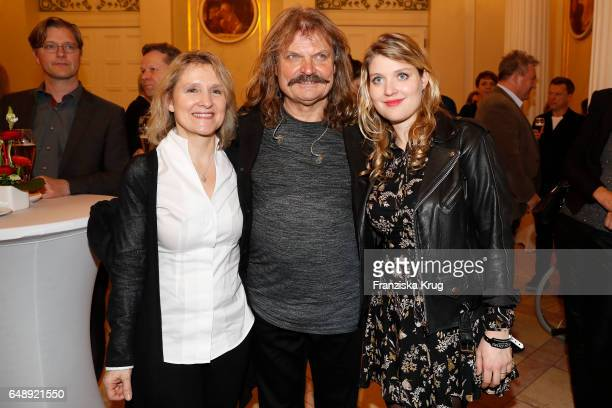 Leslie Mandoki and his wife Eva Mandoki and his daughter Lara Mandoki attend the Man Doki Soulmates Wings Of Freedom Concert in Berlin on March 6...