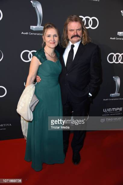 Leslie Mandoki and his wife Eva Mandoki arrive at Audi Generation Award 2018 at Hotel Bayerischer Hof on December 11 2018 in Munich Germany