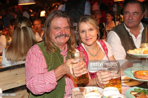 Leslie Mandoki and his wife Eva Mandoki during the Oktoberfest at Theresienwiese on September 23 2017 in Munich Germany