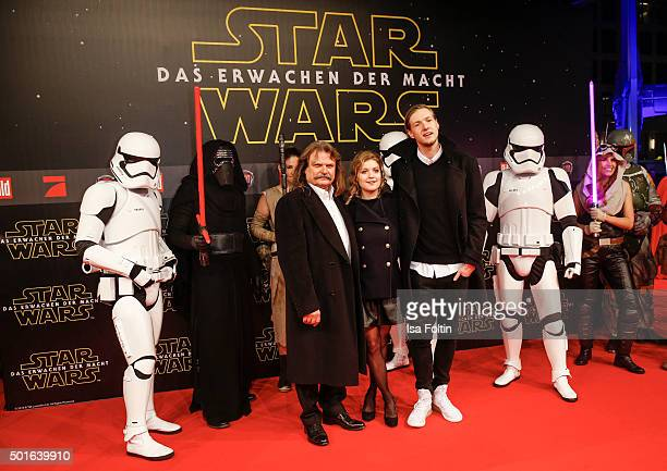 Leslie Mandoki Lara Mandoki and Tim Lindemann attend the German premiere for the film 'Star Wars The Force Awakens' at Zoo Palast on December 16 2015...