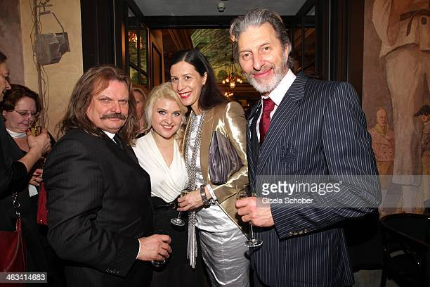 Leslie Mandoki with daughter Lara Rufus Beck and girlfriend Andrea attend the Bavarian Film Award 2014 at Prinzregententheater on January 17 2014 in...