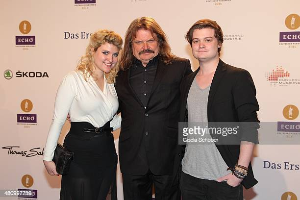 Leslie Mandoki with his daughter Lara and his son Gabor pose on the red carpet prior the Echo award 2014 at Messe Berlin on March 27, 2014 in Berlin,...