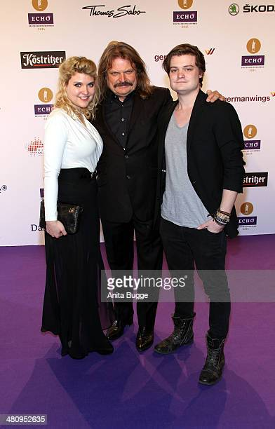 Leslie Mandoki with his daughter Lara and son Gabor attend the 'Echo Award 2014' on March 27 2014 in Berlin Germany