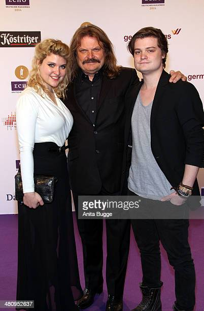 Leslie Mandoki with his daughter Lara and son Gabor attend the 'Echo Award 2014' on March 27, 2014 in Berlin, Germany.