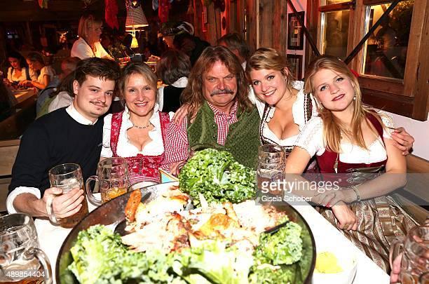 Leslie Mandoki with his wife Eva his son Gabor daughter Lara and daughter Julia Mandoki during the Oktoberfest 2015 at Kaeferschaenke at...