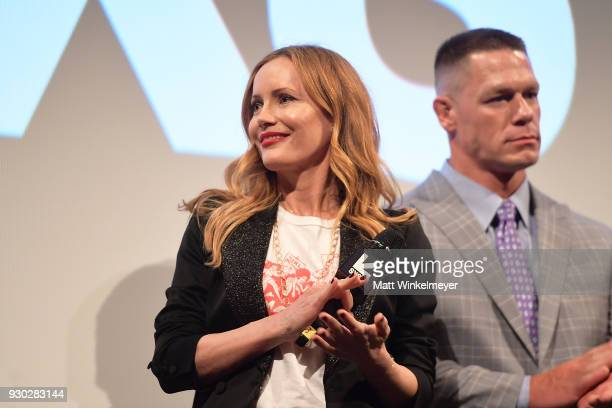 Leslie Mann and John Cena attend the 'Blockers' Premiere 2018 SXSW Conference and Festivals at Paramount Theatre on March 10 2018 in Austin Texas