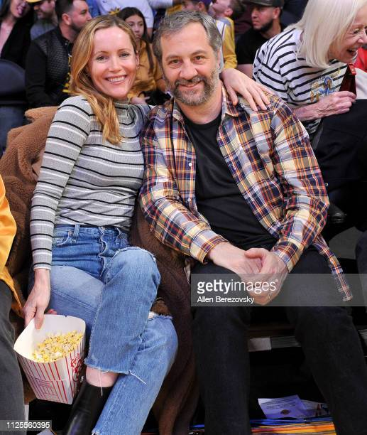 Leslie Mann and Judd Apatow attend a basketball game between the Los Angeles Lakers and the Phoenix Suns at Staples Center on January 27 2019 in Los...