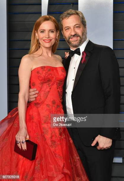 Leslie Mann and Judd Apatow attend the 2018 Vanity Fair Oscar Party hosted by Radhika Jones at Wallis Annenberg Center for the Performing Arts on...